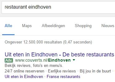 Google Adwords groene markering